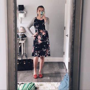 Final boutique || stripe + floral midi dress